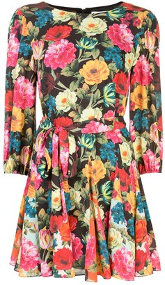 Alice + Olivia Floral Print Flared Dress