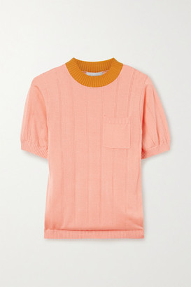 Lee Mathews Ribbed Tencel Sweater - Coral