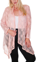Peach Open Cardigan - Plus