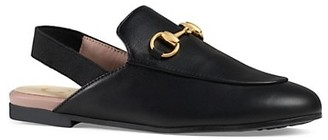 Gucci Kid's Princetown Leather Slingback Loafers