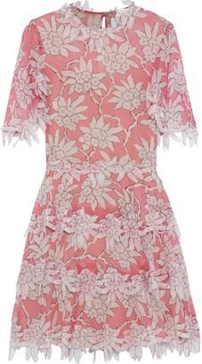 Valentino Tiered Appliqued Floral-print Silk-chiffon Dress