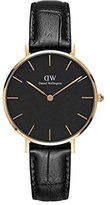Daniel Wellington 'Classic Petite' Quartz Gold and Leather Casual Watch, Color:Black (Model: DW00100167)