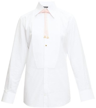 Dolce & Gabbana Velvet-bow Bib-front Cotton Shirt - Womens - White