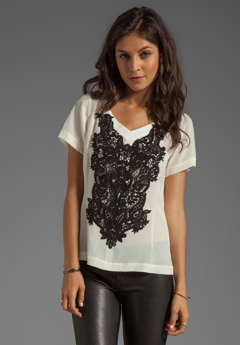 Nanette Lepore Kissing Booth Lace Snowcone Top