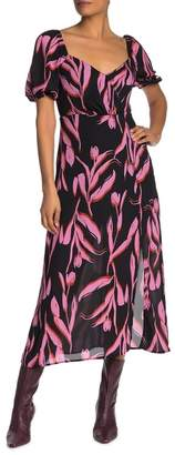 Lush Printed Slit Midi Dress