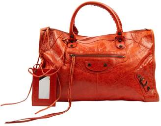 Balenciaga Work Orange Leather Handbags