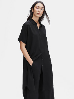 Eileen Fisher Silk Georgette Crepe Shirtdress - Large