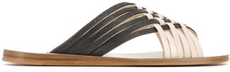 Brunello Cucinelli Two Tone Flat Sandals