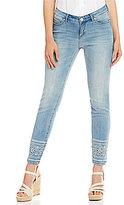 Code Bleu Ines Embroidered Eyelet Hem Skinny Ankle Jeans