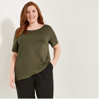Joe Fresh Women+ Back Cowl Neck Tunic, Dark Green Mix (Size 3X)