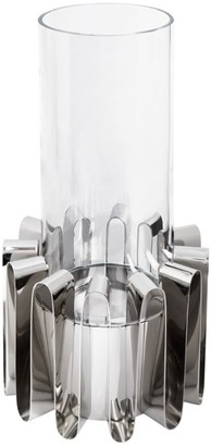 Georg Jensen Frequency Stainless Steel and Glass Hurricane Lantern