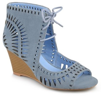 Brinley Co. Women's Faux Suede Laser Cut Lace-up Wedges