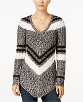 Ultra Flirt Juniors' Mitered Stripe Tunic Sweater