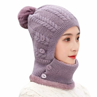 Yivise Unisex Multi-Function Winter Warm Windproof Solid Button Thermal Knitted Scarf Woolen Hat(Purple)