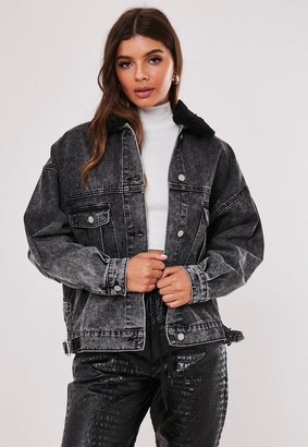 Missguided Black 80S Batwing Borg Collar Oversized Denim Jacket