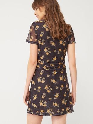 Very Ruched Side Mesh Dress - Black Floral
