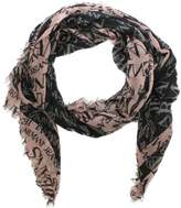 Armani Jeans Bordered Black Wool Mix Logo Scarf
