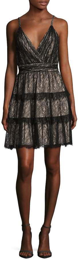 Alice + Olivia Women's Olive Lace Fit And Flare Dress