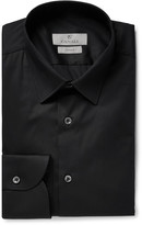 Canali Black Slim-Fit Stretch Cotton-Blend Poplin Shirt
