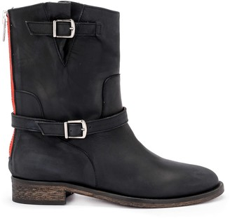 Via Roma 15 Brooklyn Black Greasy Leather Ankle Boots