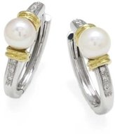 Tatitoto Vintage Women's Earrings in 18k Gold with Cultivated Pearl and Diamond H/SI (total diamonds 0.08 ct), 10 Grams