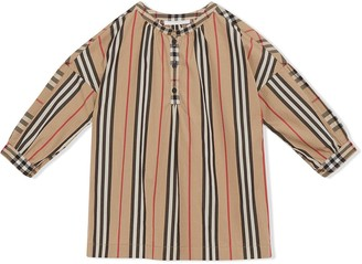 BURBERRY KIDS Icon Stripe and Vintage check blouse
