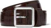 Balenciaga - 3cm Brown Croc-effect Leather Belt