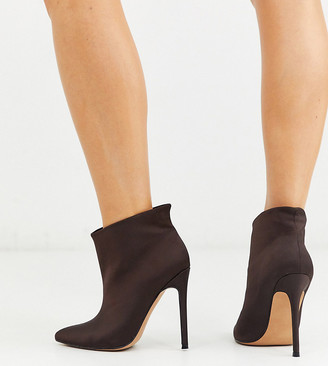 ASOS DESIGN Wide Fit Effortless pull on ankle boots in brown