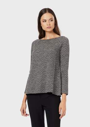 Emporio Armani Reversible Sweater In Pure Jacquard Wool