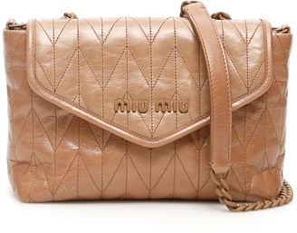 Miu Miu Quilted Foldover Logo Crossbody Bag