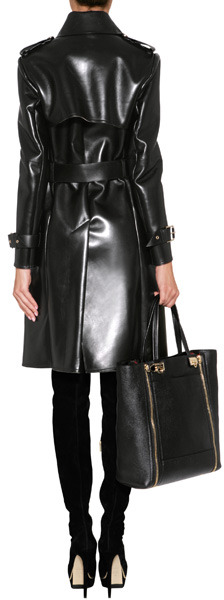 Salvatore Ferragamo Leather Trench Coat in Black