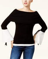 XOXO Juniors' Off-The-Shoulder Bell-Sleeve Sweater