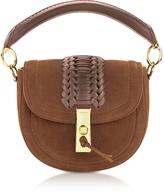 Altuzarra Chocolate Suede Ghianda Top Handle Mini Saddle Bag