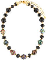 Jose & Maria Barrera Cloisonne & Jet Black Beaded Necklace