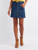 Charlotte Russe Denim Button-Up Skirt