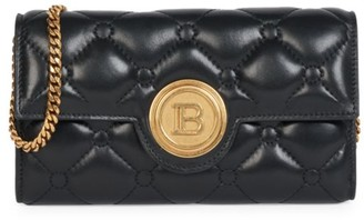 Balmain Quilted Leather Wallet-On-Chain