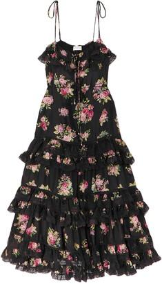 Zimmermann Honour Lace-trimmed Floral-print Silk Crepe De Chine Midi Dress