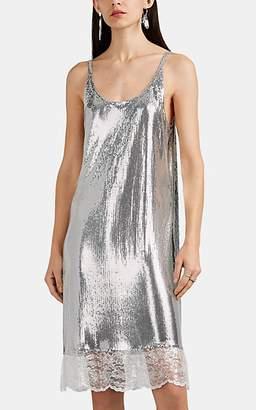 Paco Rabanne Women's Metallic-Lace-Trimmed Metal-Mesh Slipdress - Silver