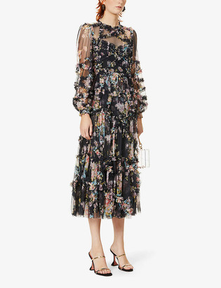 Needle And Thread Floral-pattern semi-sheer tulle maxi dress