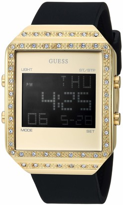 GUESS Women's Stainless Steel Quartz Watch with Silicone Strap