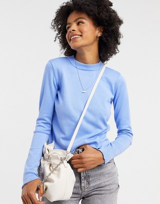 Gianni Feraud lettuce hem sweater in cornflower blue