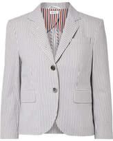 Thom Browne Striped Cotton-seersucker Blazer - Gray