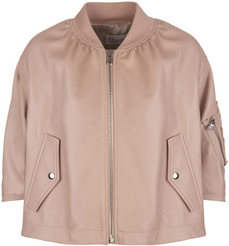 RED Valentino Romantic Nude Ruffle Bomber Jacket