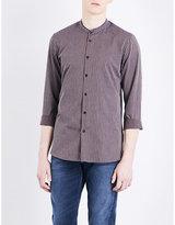 The Kooples Mandarin-collar striped cotton and linen-blend shirt
