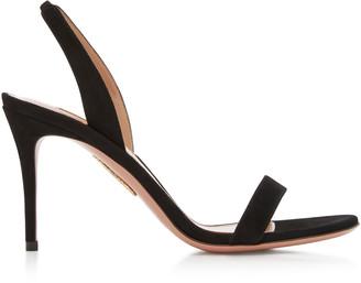 Aquazzura Women's So Nude Suede Sandals - Black - Moda Operandi