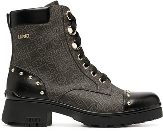 Liu Jo Monogram Leather Biker Boots