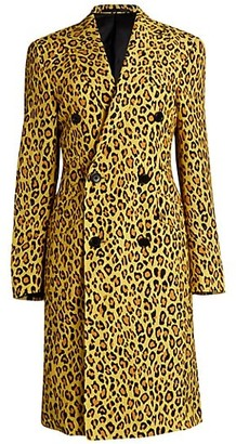 R 13 Leopard Print Double-Breasted Jacket