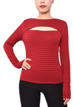 Derek Heart Juniors' Cutout Striped Top