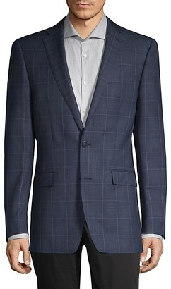 Calvin Klein Slim-Fit Windowpane Wool-Blend Blazer