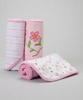 SpaSilk Pink Flower Terry Hooded Towel Set - Infant